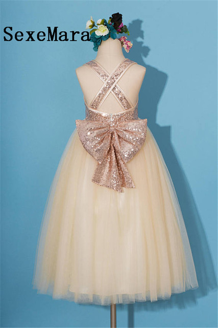 c305e0114 Flower Girl Dress for Wedding Rose gold Sequins with Big Bow Puffy Tulle  Little Girls Pageant Gown Custom Made