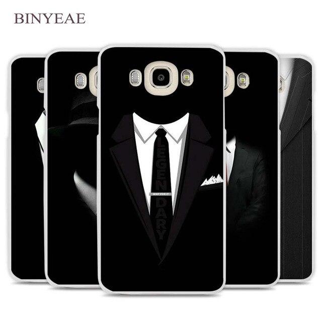 c21372fd324 BINYEAE traje oscuro hombre misterioso de la cubierta de la caja del  teléfono celular para Samsung