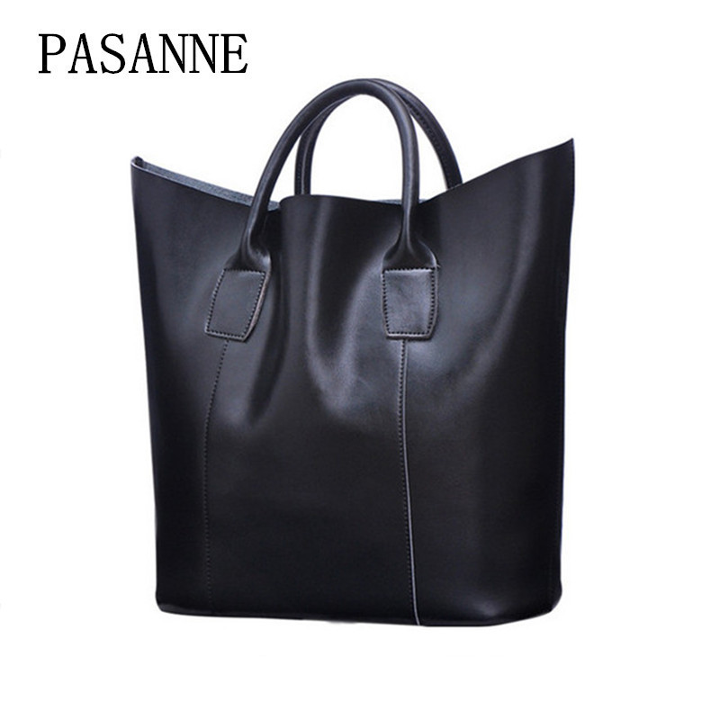 New Fashion Genuine Leather Bags Large Women Leather Bag PASANNE Fashion Woman Shoulder Bag Female Handbag Bucket Bags Handbags 2017 new women genuine leather bucket handbag fashion panelled color large capacity female single shoulder bag bbh1346