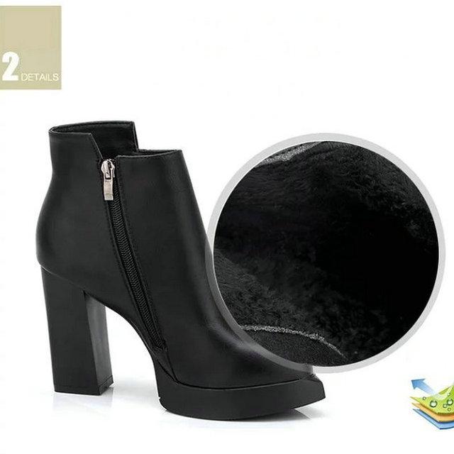 2018 New Women's Ankle Rain Boots Autumn Oxford Plain Shoes Woman Dress Zipper Shoe Formal OL High Heels Lady Black Footwear