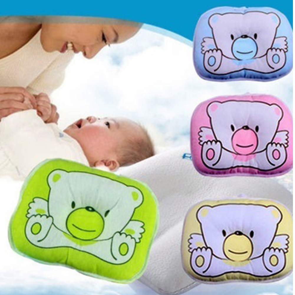 Ewborn Infant Pillow Baby Cute Bear Pattern Soft Pillow Baby Sleeping Prevent Flat  Plush Animal Shape Cushion Pillow