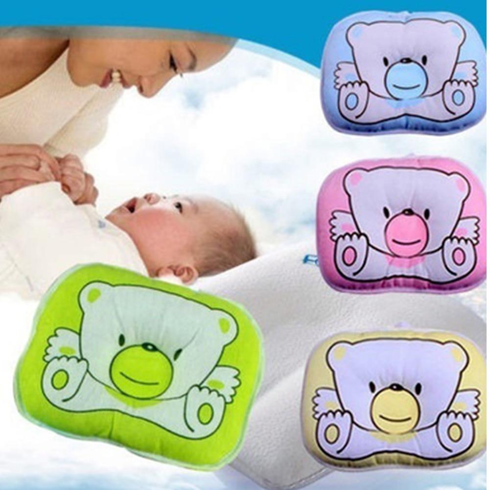 Ewborn Infant Pillow Baby Cute Bear Pattern Soft Pillow Baby Sleeping Prevent Flat  Plush Animal Shape Cushion Pillow