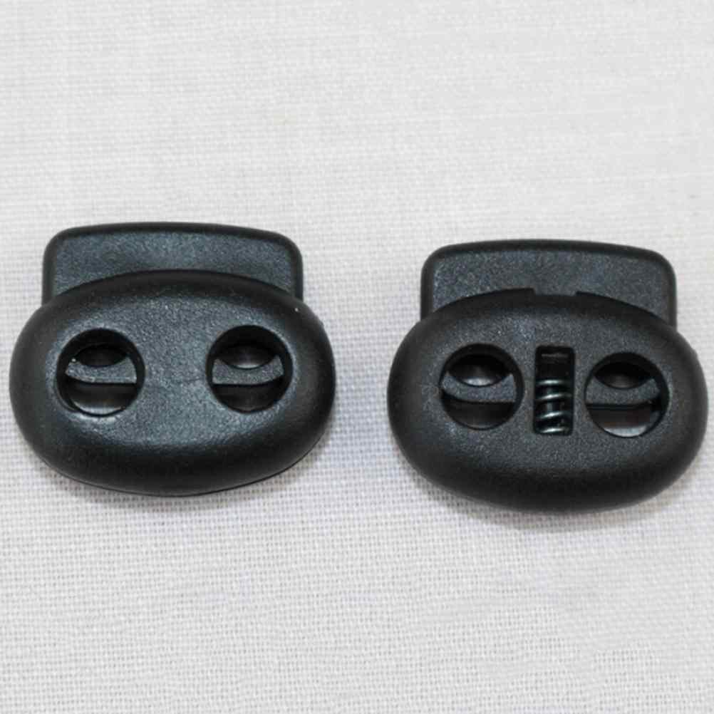 HENGHOME 10 adet Siyah Plastik El Bombası Kablosu kilit yayı Stoper halat kelepçesi Geçiş Klip Paracord Çizme Ayakkabı Bağı Açık Kitleri