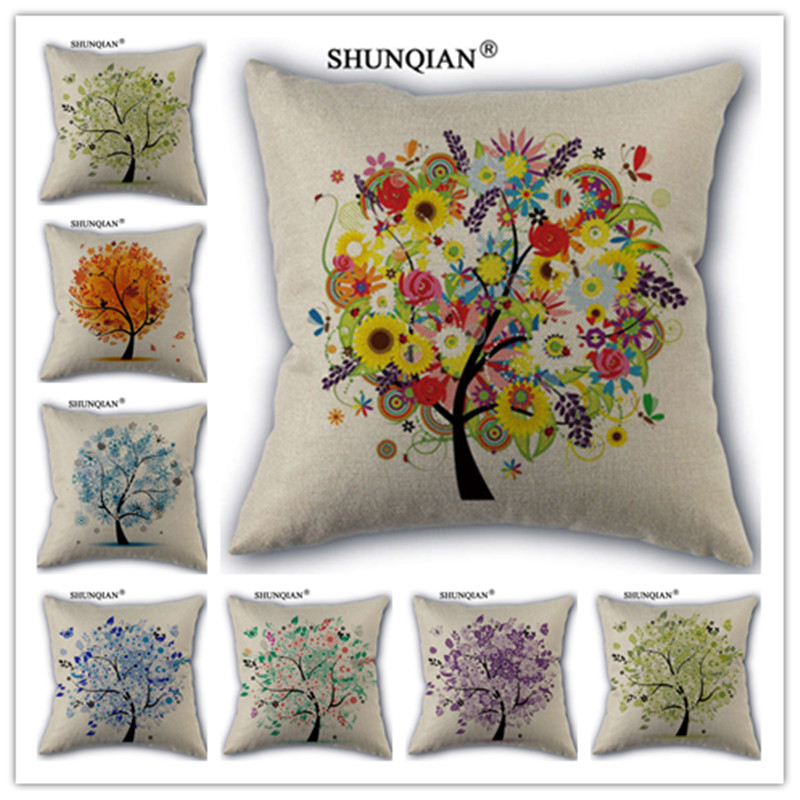 Fashion High Quality Cotton Linen Life Tree Flower Pillowcase Decorative  Pillow Case For Home Pillow Cover