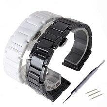 16 18 20 22mm Ceramic Watchbands Men Women Watch Accessories Strap Bracelet Band White Black