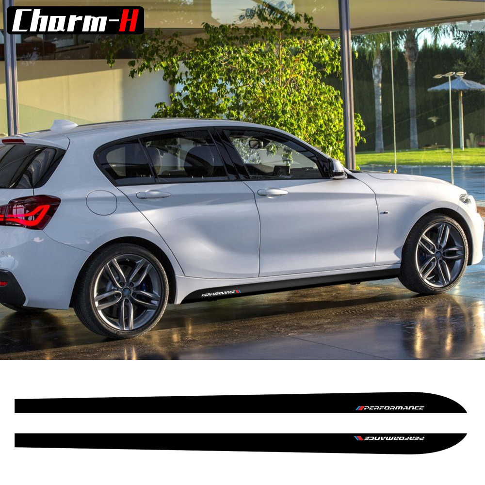 2pcs New Style M Performance Side Skirt Sill Stripe Decals Vinyl Stickers for BMW 1 Seri ...