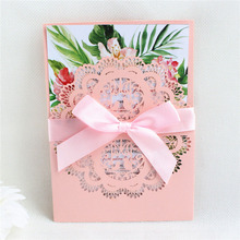 Pink lace wedding cards birds laser cutting invitation pocket personalized printing free ship