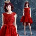 Изящные Спинки Передняя Короткие Длинные Вернуться Красный Партии Dress/Производительность Dress 1065