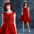 Backless elegante trasero largo corto delantero rojo partido dress/performance dress 1065