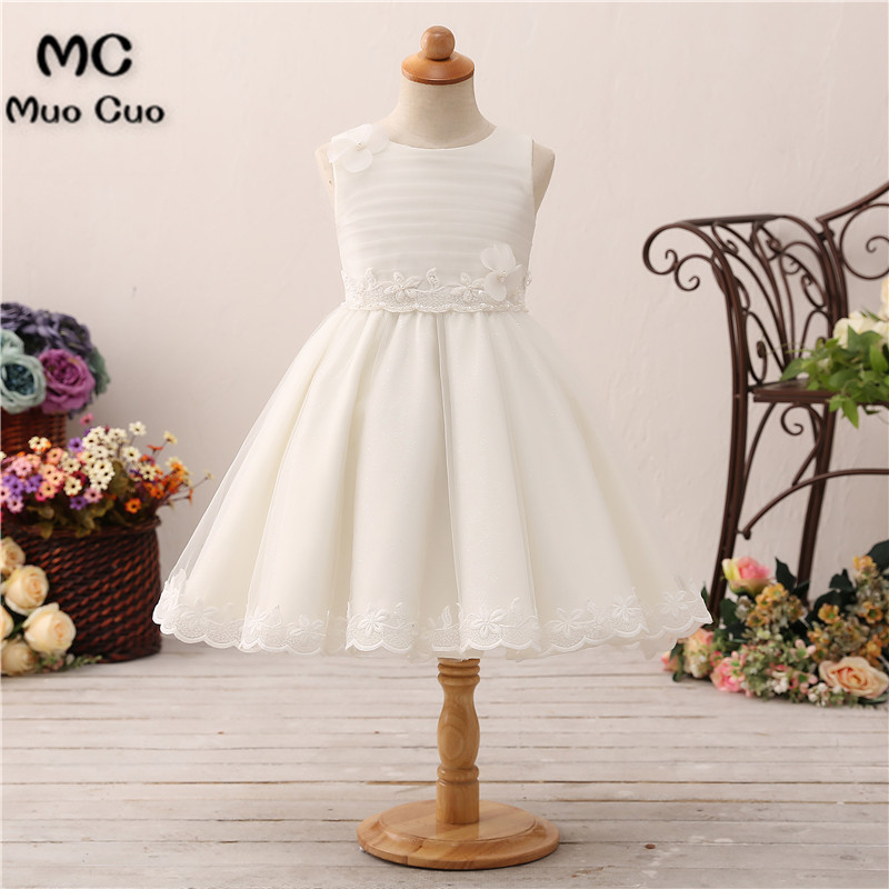 Puffy 2018 Ball Gown first communion   dresses   for   girls   Appliques kids evening gowns   flower     girl     dresses   for weddings
