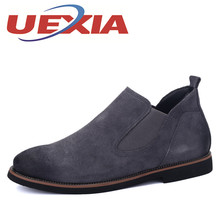 Autumn New Mens Casual Chelsea Boots Men Classic Suede Leather Rubber Ankle Boots Fashion Breathable Slip On Martin Shoes Botas