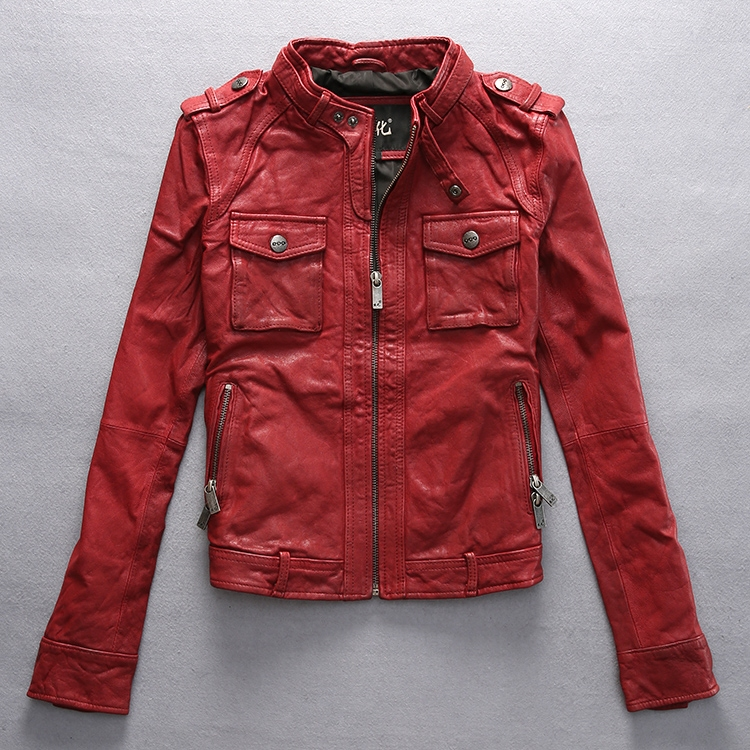 Factory 2016 Winter New arrival Women s Genuine Leather Jacket Vegetable tanned goatskin Black Red Fashion