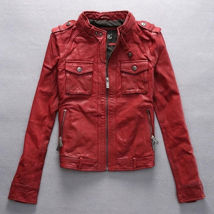 工場2016冬の新しい到着の女性の本革ジャケット野菜なめしゴートスキン黒/赤ファッションオートバイジャケット  グループ上の レディース衣服 からの レザー & スエード の中 1