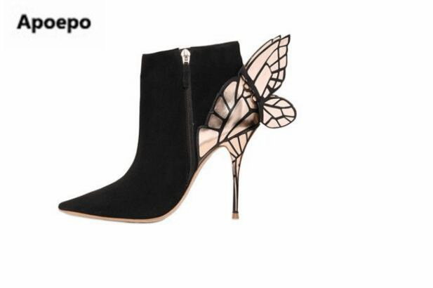 Apoepo brand Butterfly wings Women's Ankle Boots For women black botines mujer Pumps Thin high heels shoes Plus Size 35-42 botas apoepo brand 2017 zapatos mujer black and red shoes women peep toe pumps sexy high heels shoes women s platform pumps size 43