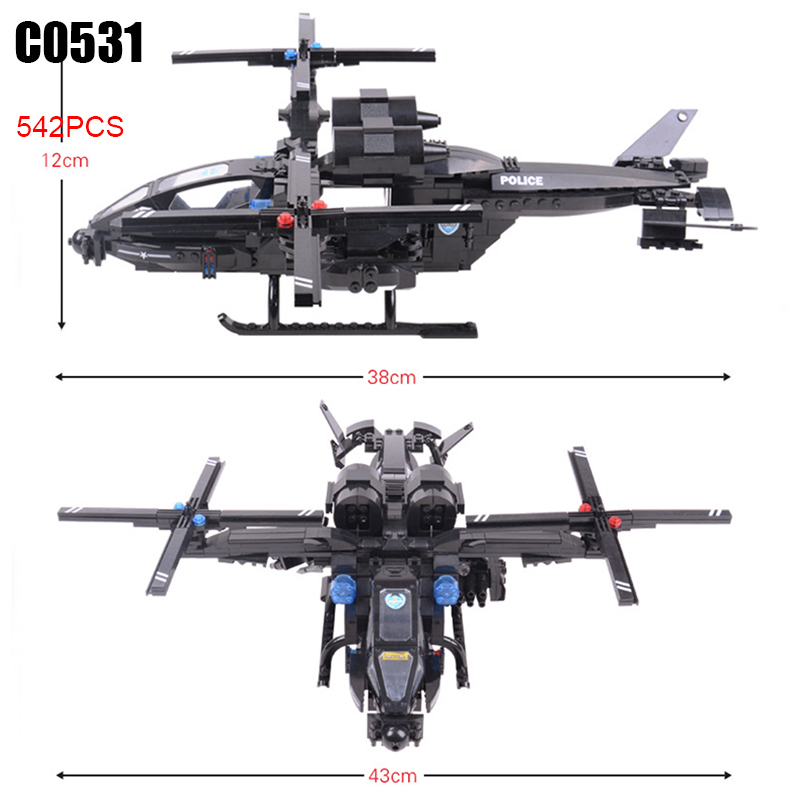 цена 542pcs C0531 SWAT series military helicopter Building Blocks set DIY Educational bricks toys for children Great Gift онлайн в 2017 году