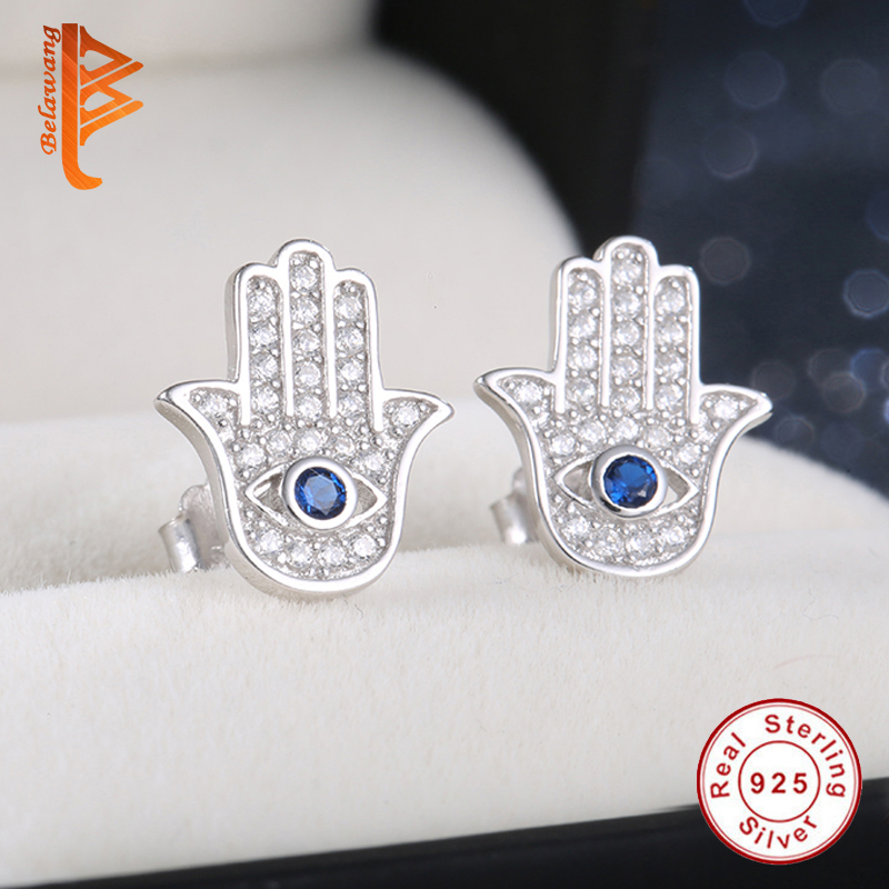 Original 925 Sterling Silver Blue Evil Eye Hamsa Hand Stud font b Earrings b font For
