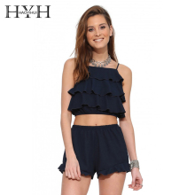 HYH Haoyihui Sweet Layered Ruffle Top Chiffon Blouse Sleeveless Vest Tank Top Women Crop Shirts Navy Blue Blouses Female Tee цена