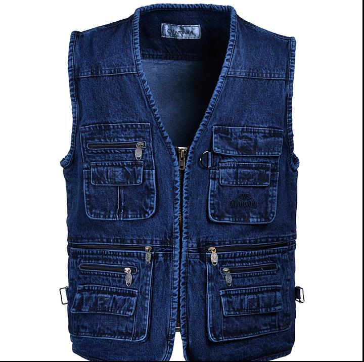 Free Shipping Male Denim Vests Men 3XL 4XL 5XL Vest Mens Outdoors Cotton Multi Pocket Sleevless