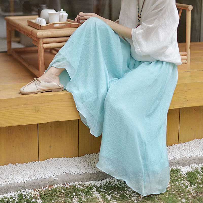 Summer Vintage Cotton Linen   Wide     Leg     Pants   Female Loose Large Size Women Retro   Pants   Casual New Arrival Chinese Style Elegant