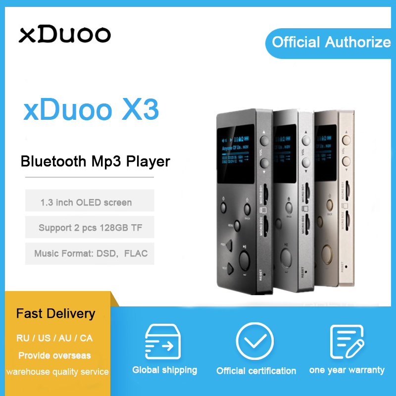 XDuoo X3 bluetooth lecteur mp3 hi fi dsd dac décodeur sans perte flac lecteurs portable Sport contrôle du volume lecteur de musique avec écran