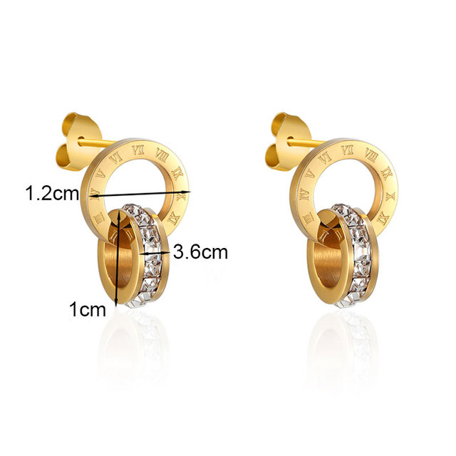 Top Brand Hight Quality Titanium Steel Double Wound Roman Numerals Crystal Stud Earrings For Women Gift Jewelry 5