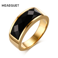 Cool Punk 8mm Wide Men Rings With Black Sand Agate US Size 7 11 Stainless Steel