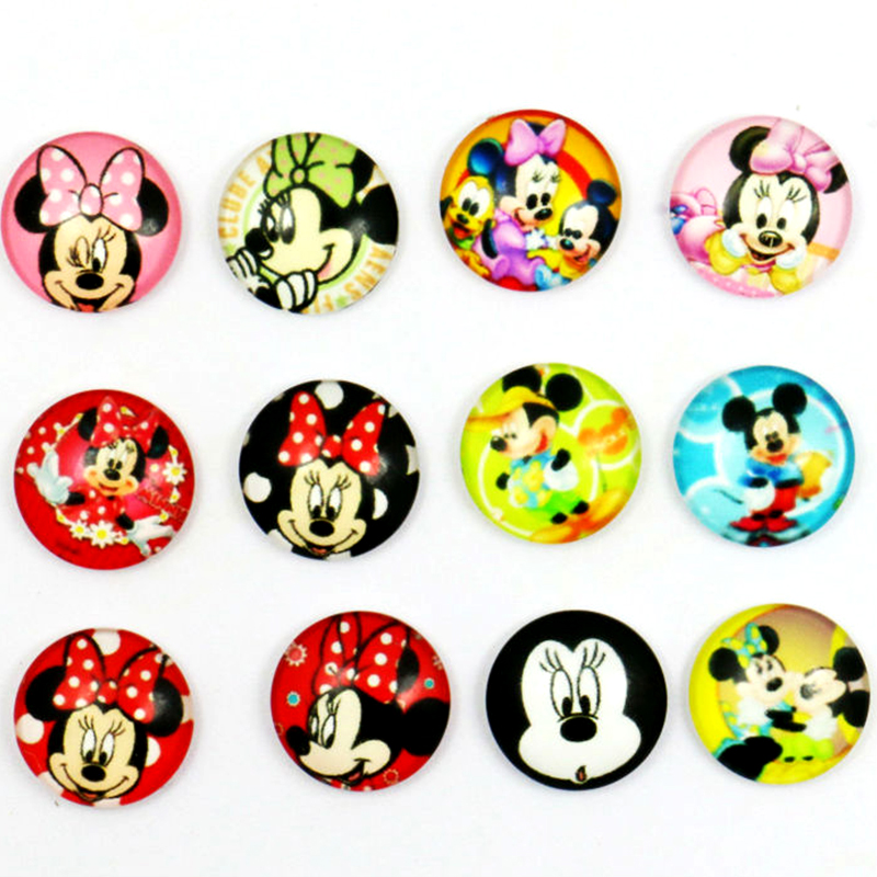 New Lovely Minnie 10mm/12mm/14mm/16mm Round Photo Glass Cabochon Demo Flat Back Making Findings
