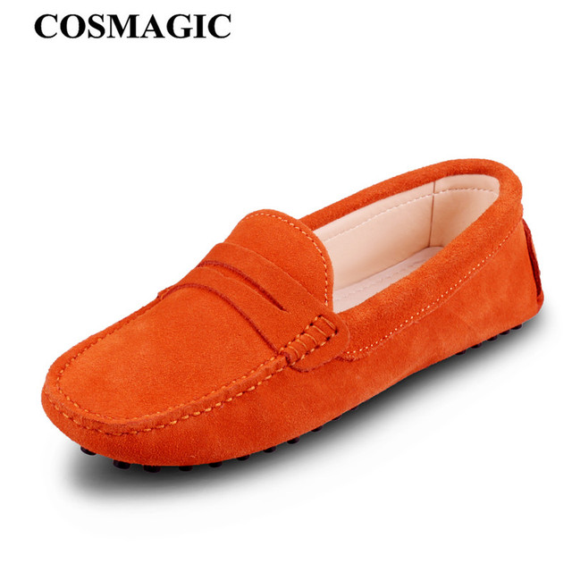 bd233f29357 COSMAGIC New Driving Loafers Women Flats Shoe 2017 Casual Soft Nubuck  Leather Slip on Lady Moccasins Walking Boat Shoes