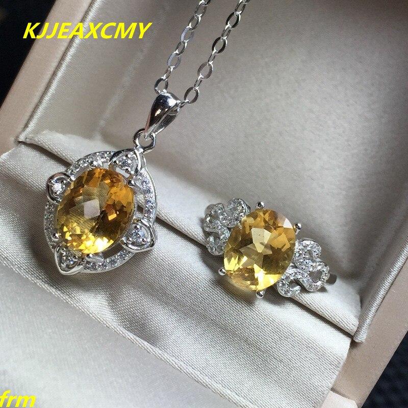 KJJEAXCMY bijoux fins, pendentif bague Citrine incrustée en argent sterling 925 en version femelle en argent Sterling