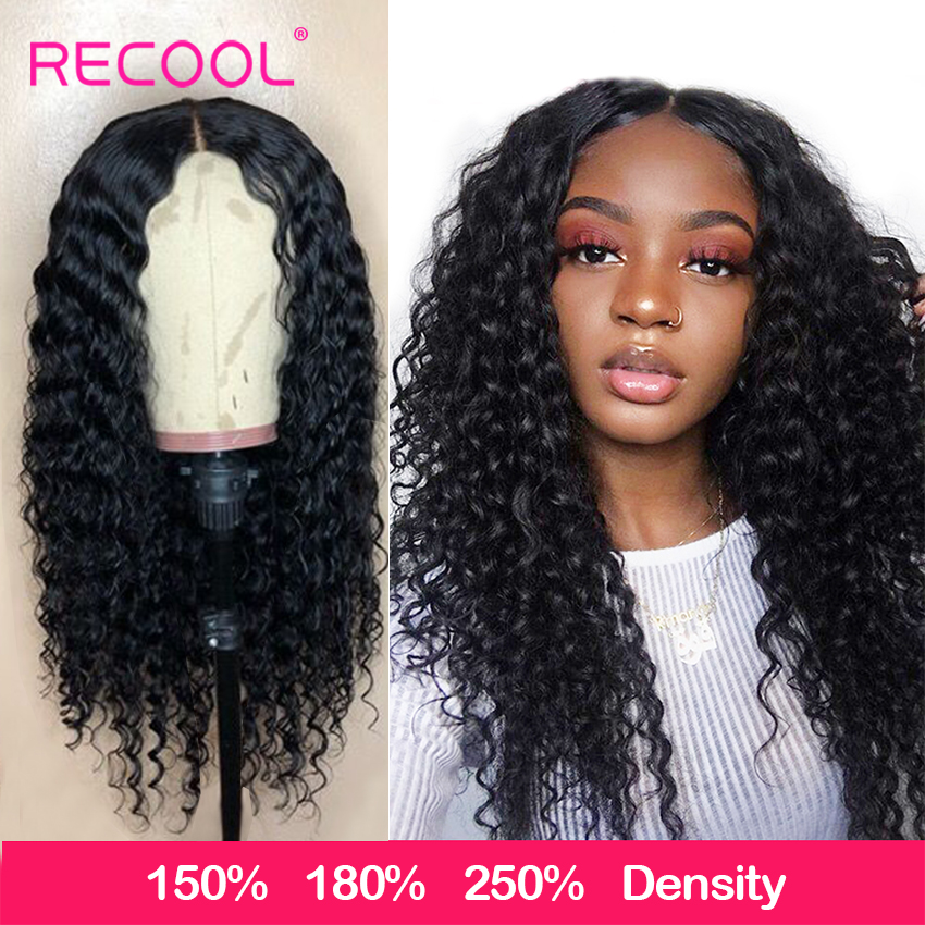 Recool Deep Curly Human Hair Wig 360 Lace Frontal Wig Pre Plucked Deep Wave Lace Wig