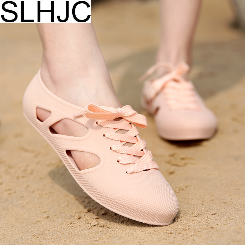 2018 Summer Jelly Shoes Flat Heel Candy Color Sandals Lace Up Closed Toe Flats Shoes Durable Wear free shipping candy color jelly sandals new plastic chain beach shoes chain flat bottomed out sandals lace up chains women shoes