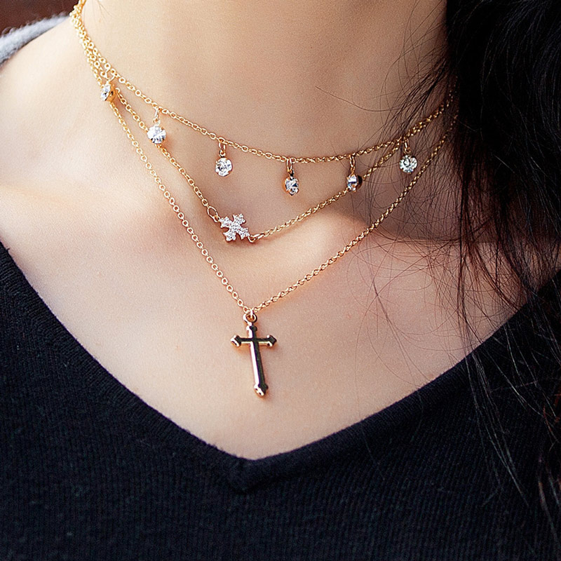 Gold Multi Layer Necklace In Crystal Pendant Necklaces For Women Eleglant Layered Chain Gold Color Cross Choker Necklace Fashion (2)