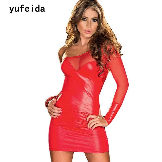 ea76d59a2 YUFEIDA Projeto Da Novidade Faux Leather Mini Vestido Sexy Adulto Outfit  mulheres Malha Bodycon Um Ombro