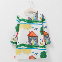 Girl Dress Princess Costume Long Sleeve Dresses Kids Clothes Green Sunny Print Rapunzel Children Dresses For