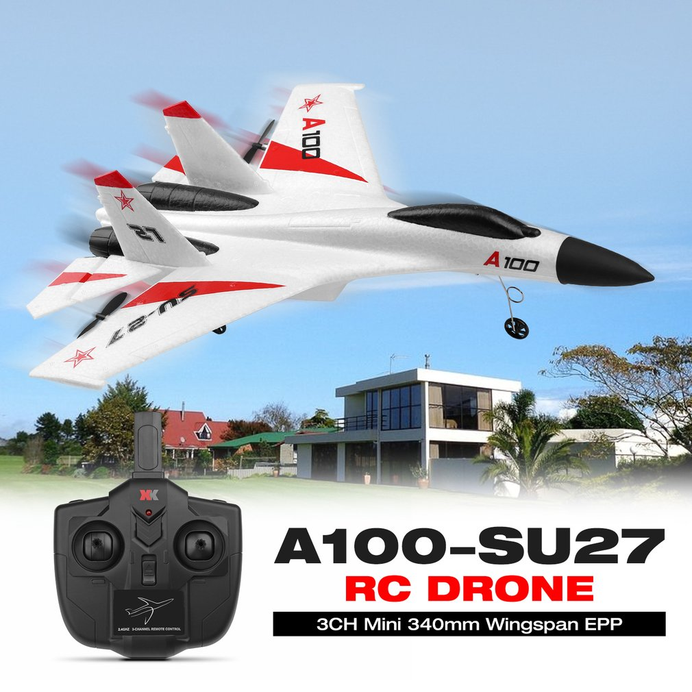 Wltoys A100-SU27/A100-Annihilation 11 3CH Mini 340mm Wingspan Wingspan EPP RC FPV Racing Drone Airplane Plane Toys withHighSpeed