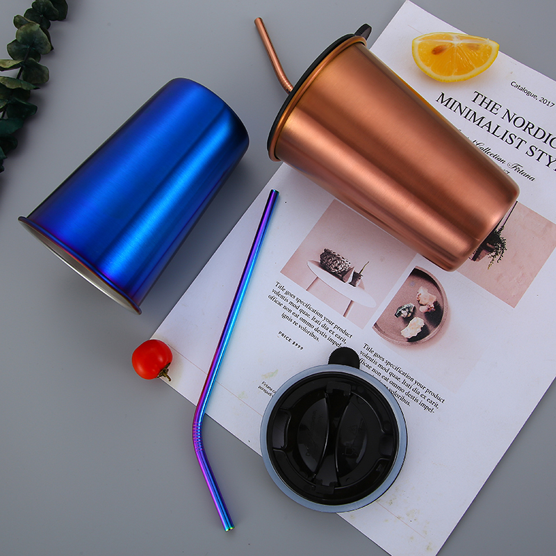 COOL Color Water Cup 304 Stainless Steel Coffee Mugs Metal Straw Reusable Outdoor Camping Travel Mug Drinking Juice Tea Beer Cup in Coffee Cups Mugs from Home Garden
