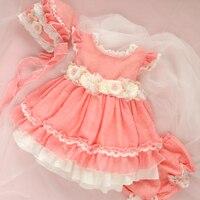 3pcs Baby Frocks Girl Vintage Spanish Dress Kids Princess Pink Ball Gown Christmas Carnival Costume Girls Birthday Wedding Party