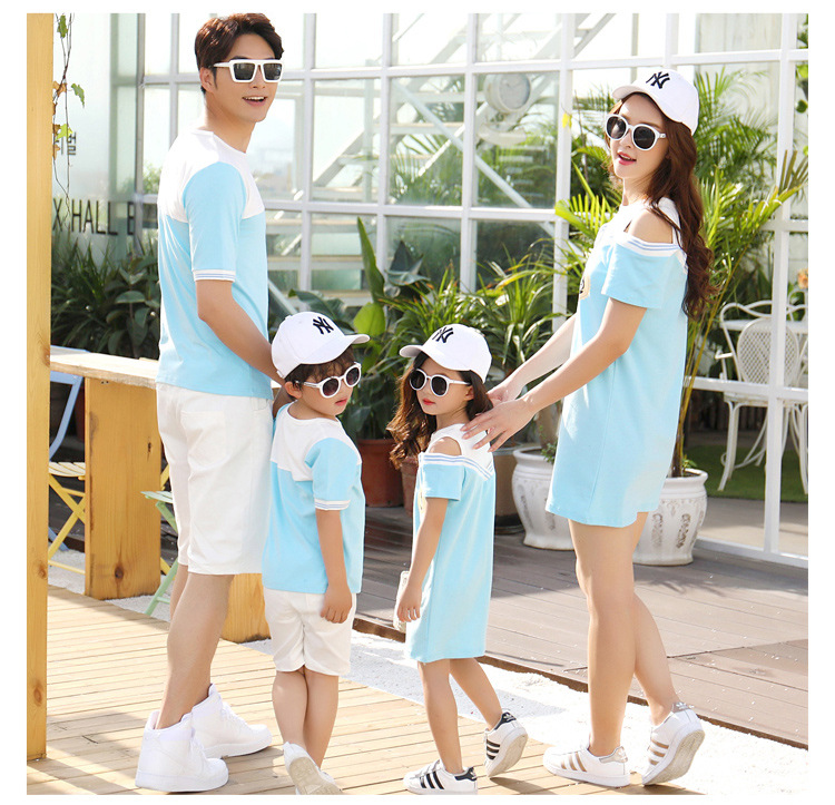 HTB1S.6xclGw3KVjSZFwq6zQ2FXa9 - Summer Clothes Family Matching Outfits Dad Son Short Sleeve T-Shirt Mother Daughter Dresses Cute Blue White Dress Clothing