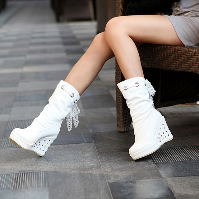 989c83e2faf 2018 female shoes spring and autumn Diamond Heel Fall boot high heels wedges  platform Black White Women Boots