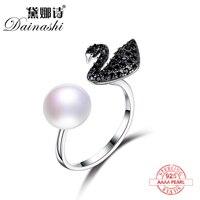 Dainashi noir Cygne noble et élégant 925 argent sterling de haute qualité perles réglable anneaux top marque fine bijoux pour les filles
