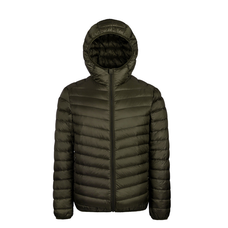 2018 Winter Light White Duck Down Mens Warm Hooded Down Jacket Coat Fashion Casual Zip Pocket Large Size Pure Down Jacket