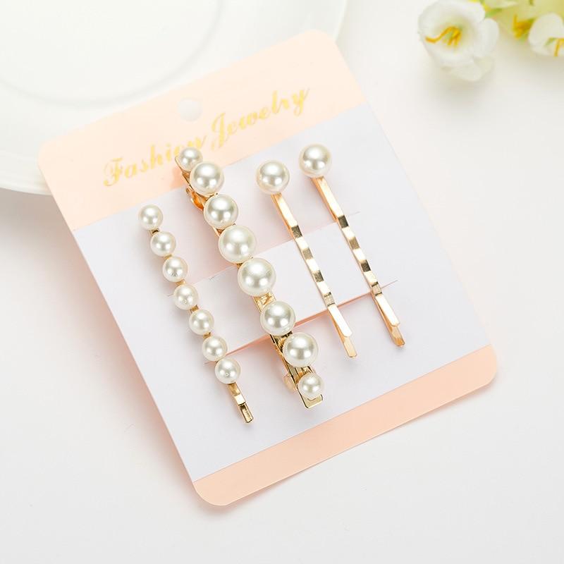 Hair Clip Trend 2019: 4pcs/set Pearl Hair Clip Barrettes Set 2019 Fashion Korean