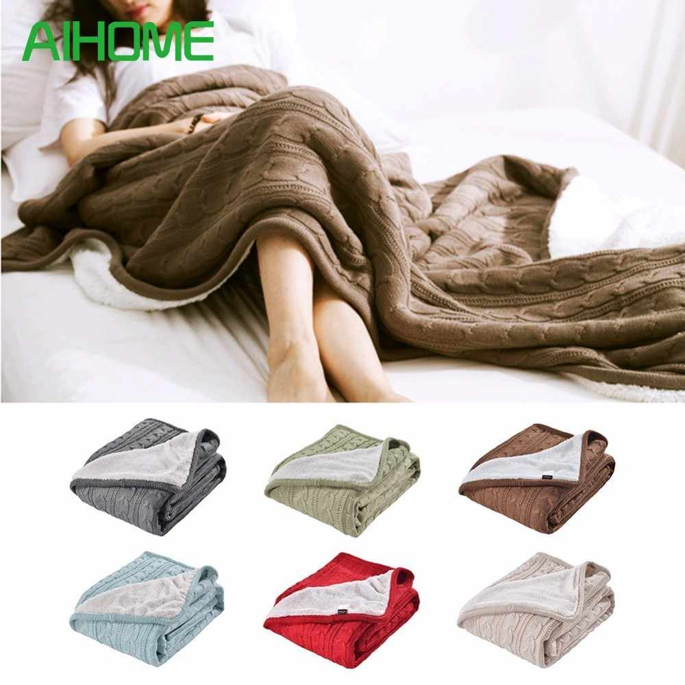 Sherpa Blanket Knit Composite Lambskin Throw Micromink Blanket Insulated Thickened Lunch Break Office Knee Queen Size.jpg q50