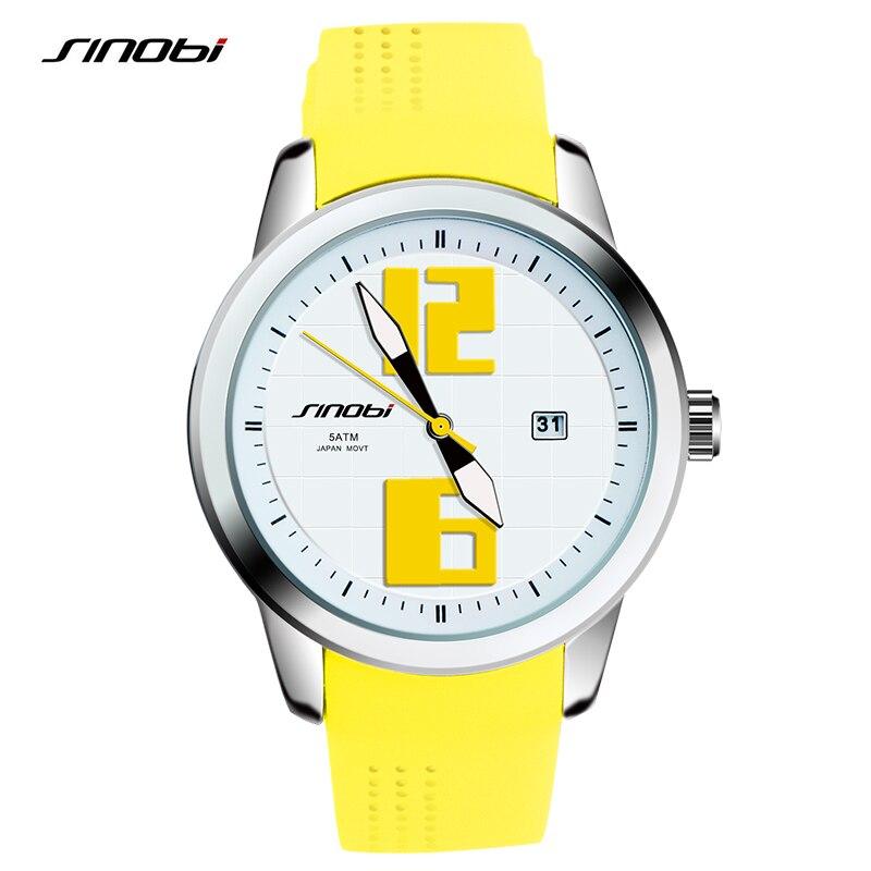 SINOBI Fashion Womens Wrist Watches Top Luxury Brand Rubber Watchband Females Quartz Clock Ladies Wristwatch Montres Femmes 2017