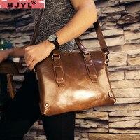 BJYL 100% натуральная кожа мужская деловая Сумочка поперечный портфель 14 ноутбук мессенджер Ретро Дорожные сумки на плечо