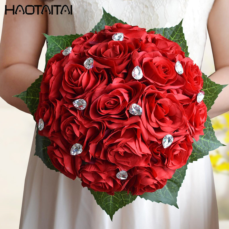 Bridal Bouquets In Stock Gorgeous Beaded Wedding Bouquet ivory red pink Rose Bridesmaid Flowers Artificial
