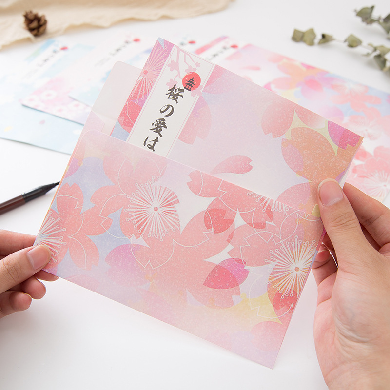 Japanese Sakura Envelopes Small And fresh Ideas With Decorative Patterns And Romantic Patterns Papers Set Office School Supplies