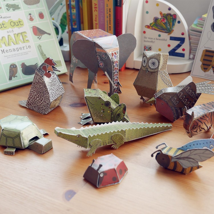 12pcs pack animal cardboard 3D puzzles DIY paper cut book menagerie handmade craft Kids Children educational