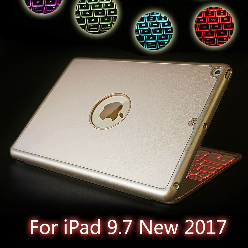 For iPad 5 / Air High-Quality 7 Colors Backlit Light Wireless Bluetooth Keyboard Case Cover For iPad 9.7 New 2017 A1822 A1823 aluminum keyboard case with 7 colors backlight backlit wireless bluetooth keyboard