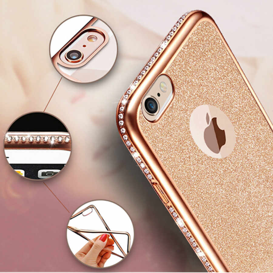 Luxury Diamond TPU Glitter Case For iPhone 7 Case Bling Phone Cases For iPhone 6 6S 7 8 Plus X XR XS MAX Bling Cover Silicone